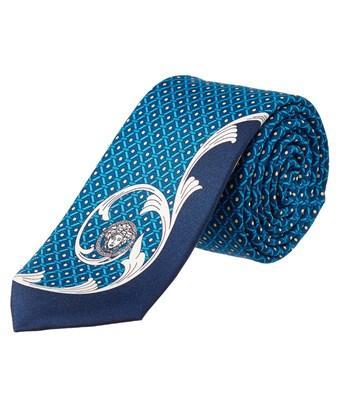 cf09e2e0 Versace Men's Slim Silk Tie Baroque Medusa Pattern Blue White in Nocolor