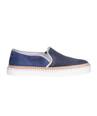 Hogan Women's  Blue Suede Slip On Sneakers