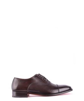 Santoni Men's  Brown Leather Lace-up Shoes