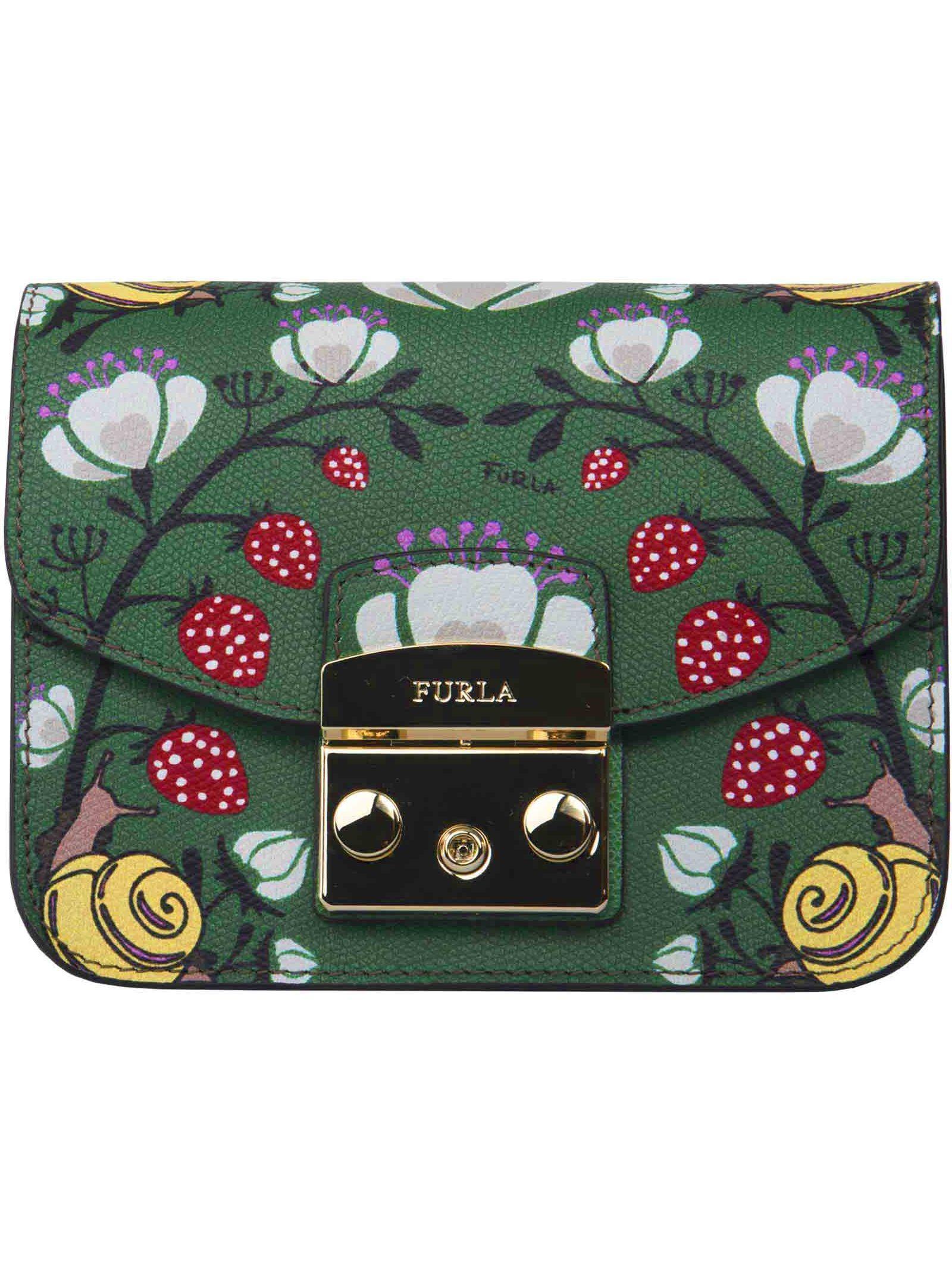Furla Metropolis Print Mini Shoulder Bag In Green