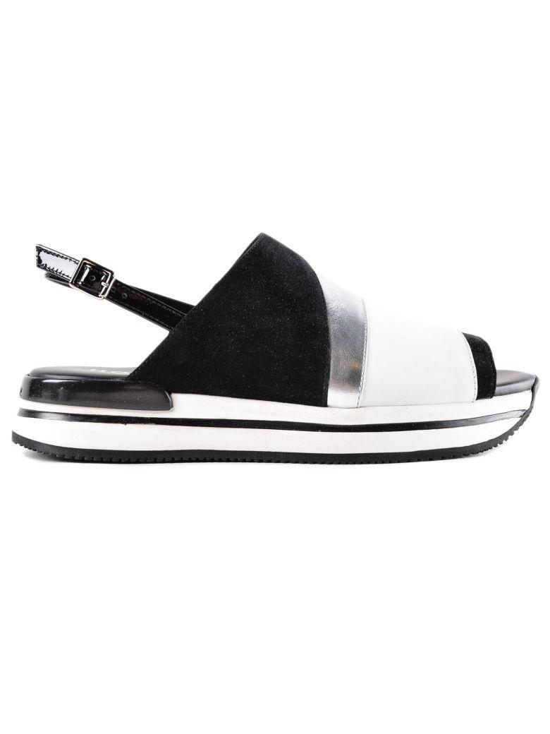 Hogan H257 Color Block Sandals In Nero+bianco+arg