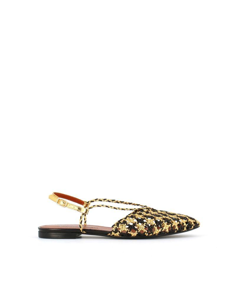 Michel Vivien Woven Ballerina In Black/gold