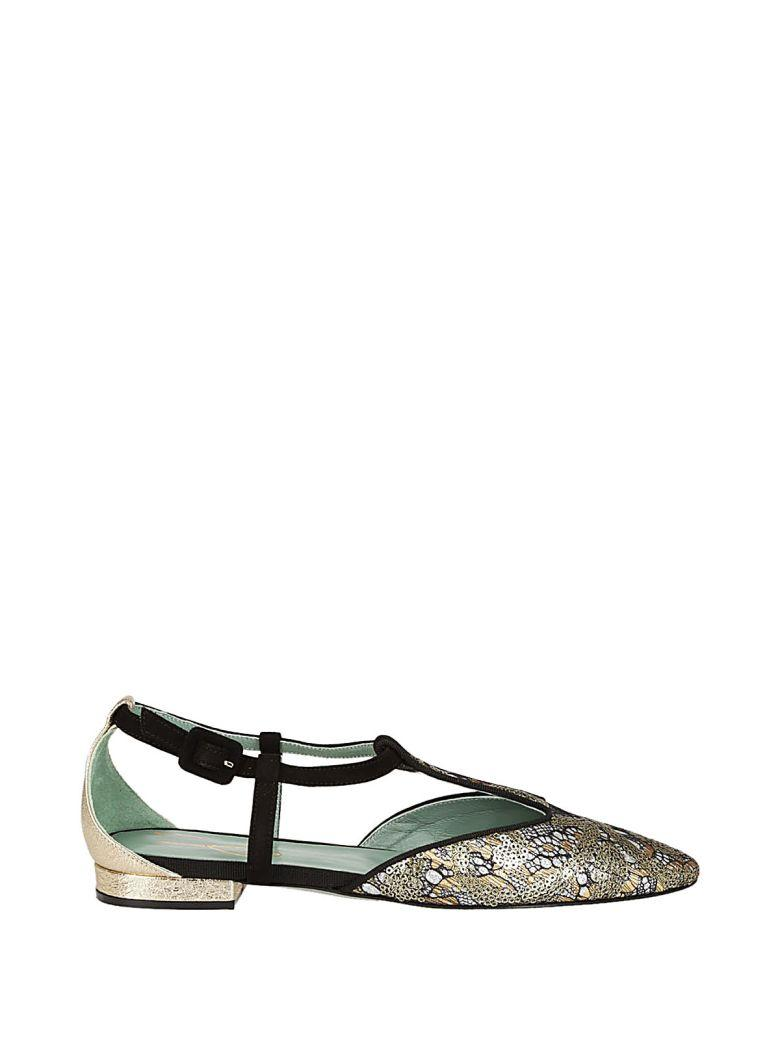 Paola Darcano Paola D'arcano Patterned Ballerinas In Gold