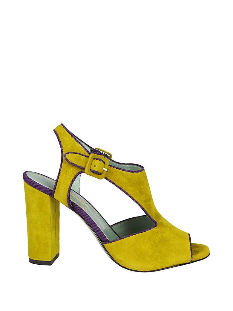 Paola Darcano Block Heel Sandals In Lime