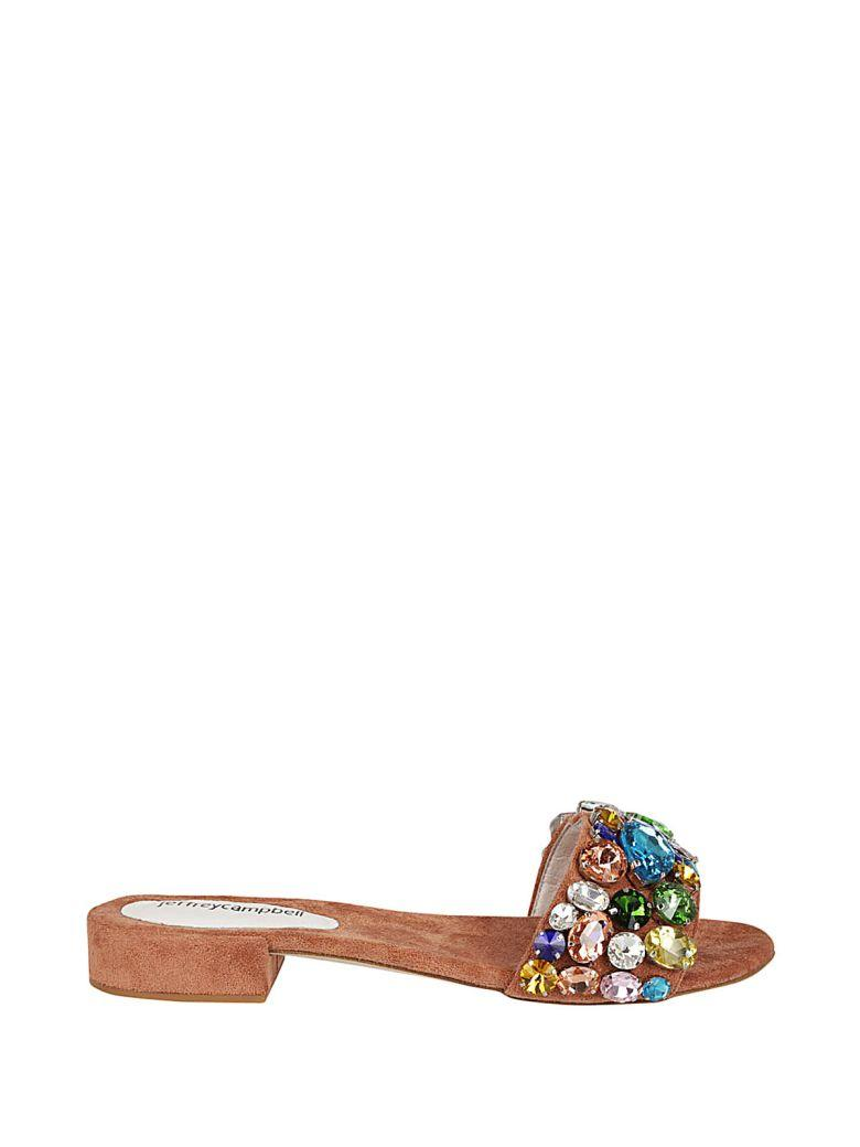 Jeffrey Campbell Crystal Flat Sandals In Cipria