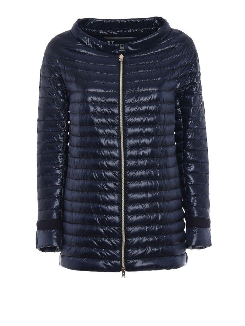 Herno Long Padded Jacket In Night Blue