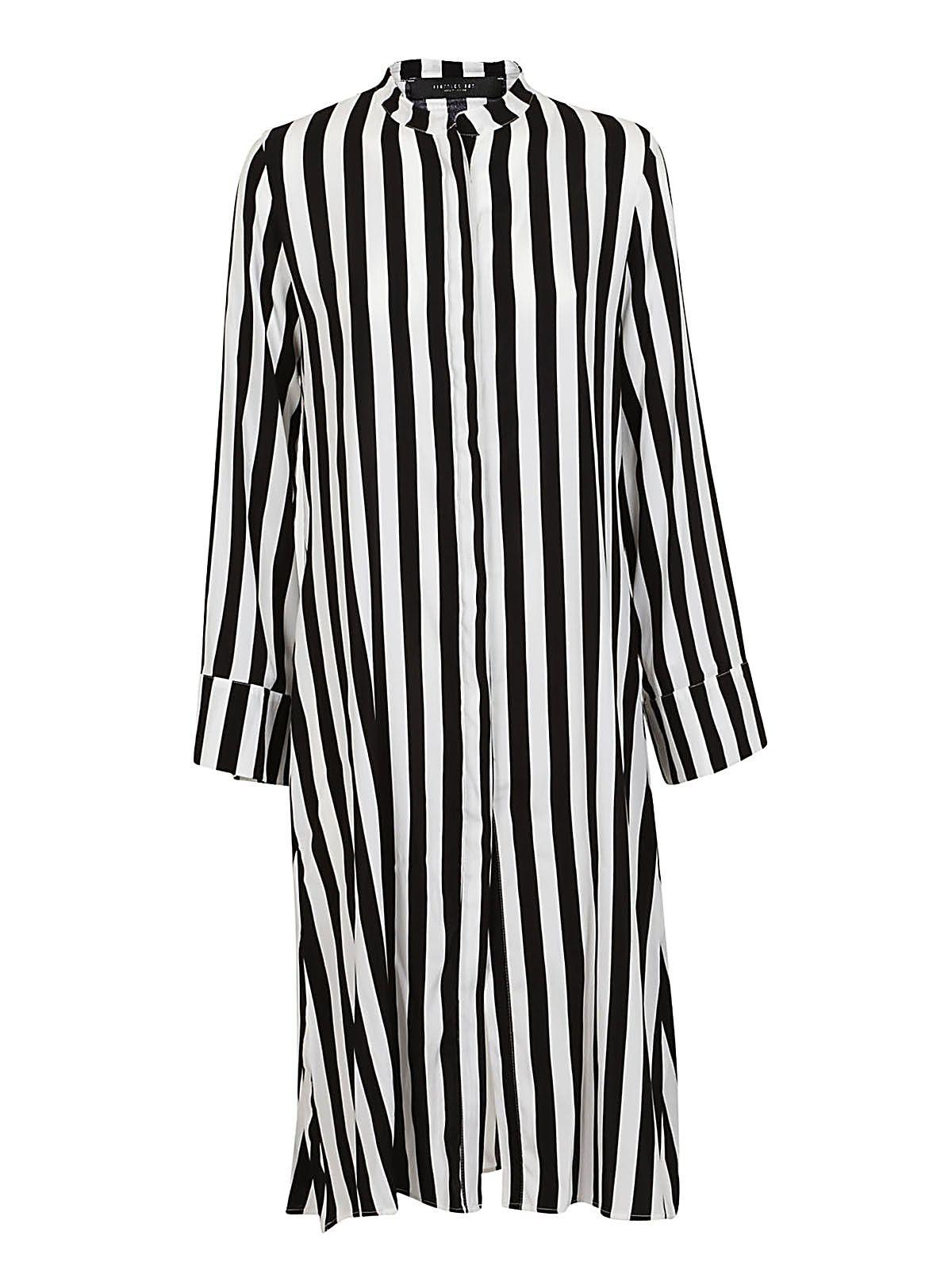 Federica Tosi Striped Loose-fit Dress In Bianco-nero