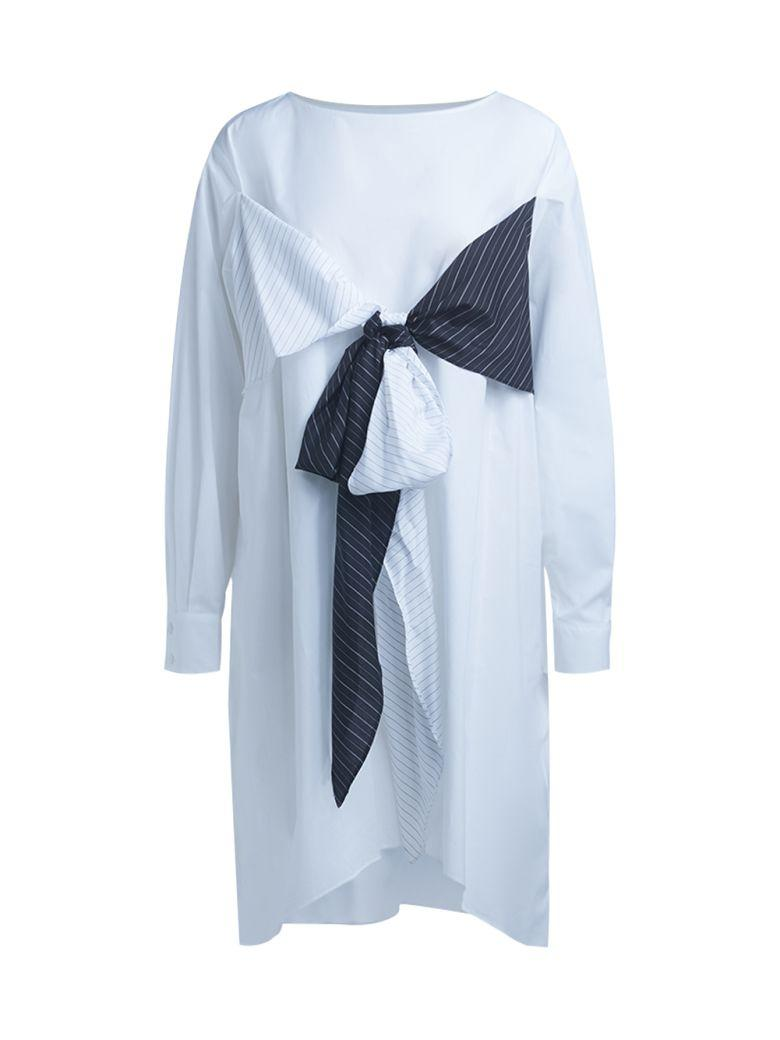 Mm6 Maison Margiela White Cotton Dress With Bands In Bianco