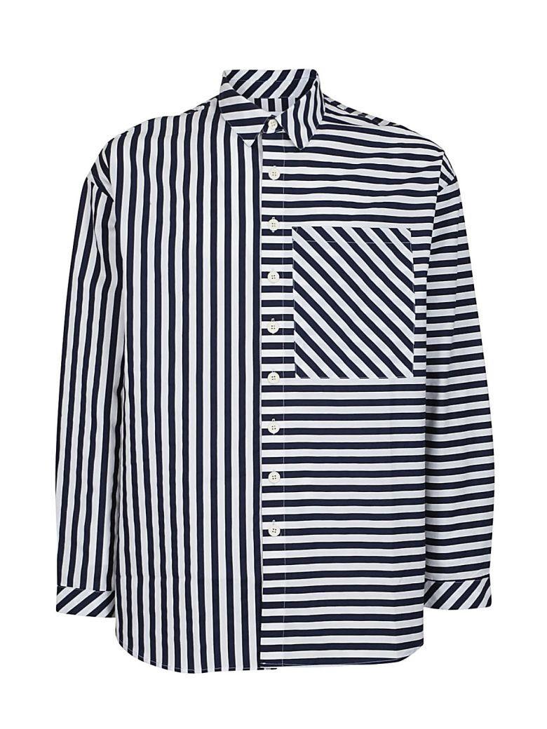 Sunnei Striped Shirt In Blu/bianca