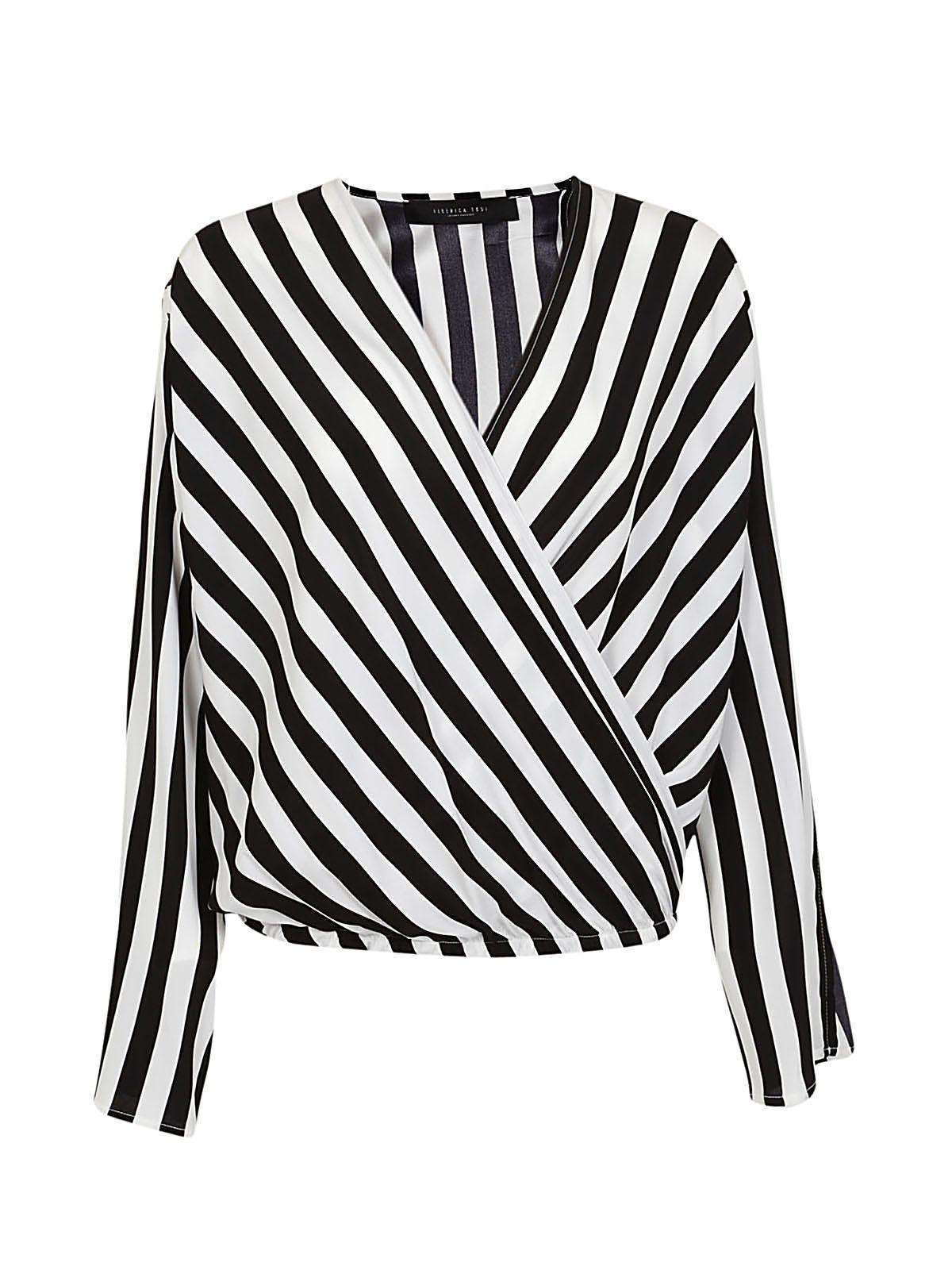Federica Tosi Striped Blouse In Bianco-nero