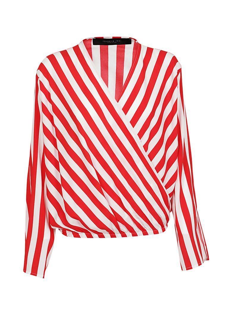 Federica Tosi Striped Blouse In Bianco-rosso