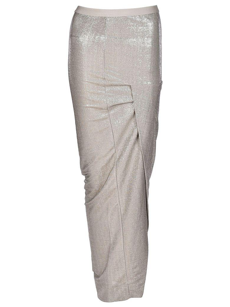 Rick Owens Wrap Front Long Skirt In Pearl
