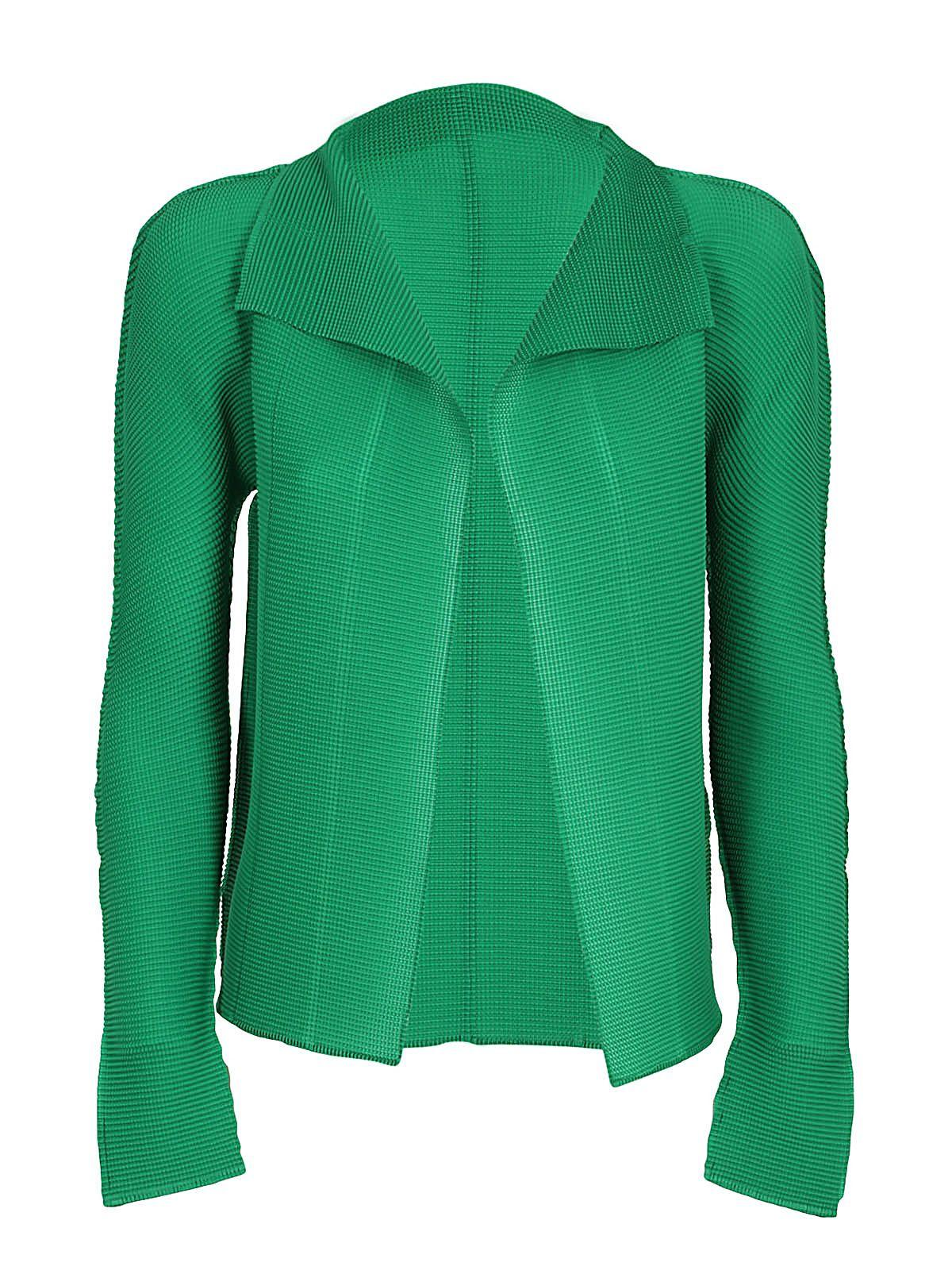 Issey Miyake Open Front Cardigan In Green