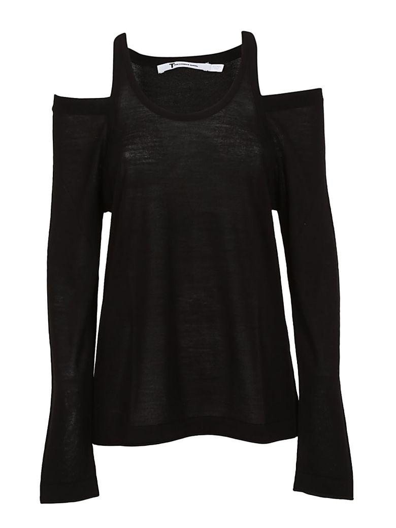 Alexander Wang T T By Alexander Wang Wash & Go Cold Shoulder Sweater In Black