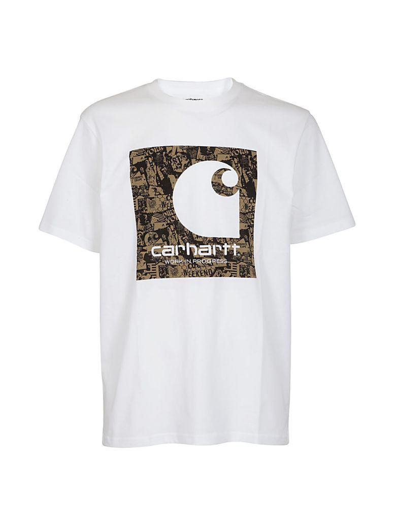 Carhartt Logo Print T-shirt In Bianca