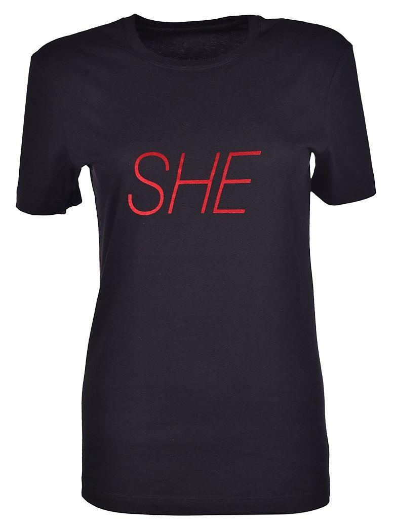 Paco Rabanne She Print T-shirt In Black