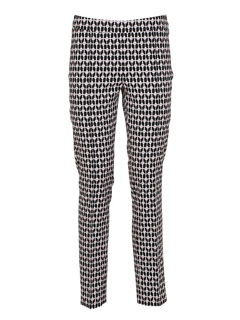 Dondup Printed Gabardine Trousers In Nero/rosa