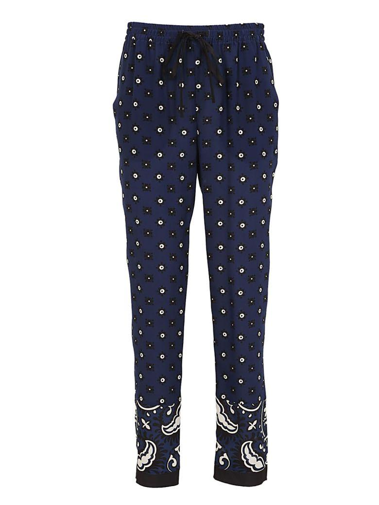 Red Valentino Printed Drawstring Trousers In Cobalto