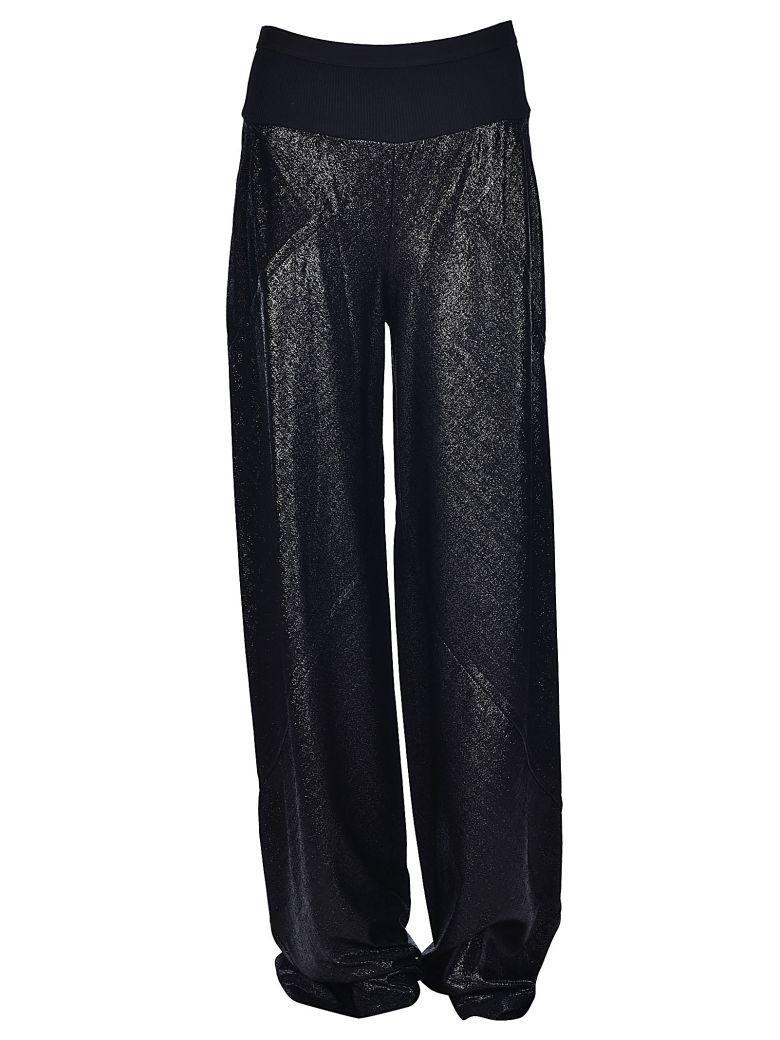 Rick Owens Metallic Effect Flared Trousers In Black