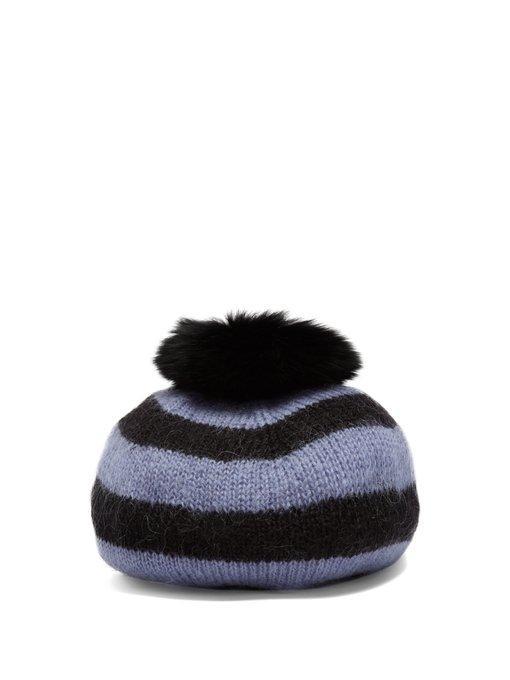 Charlotte Simone Fur-pompom Striped-wool Beret In Blue