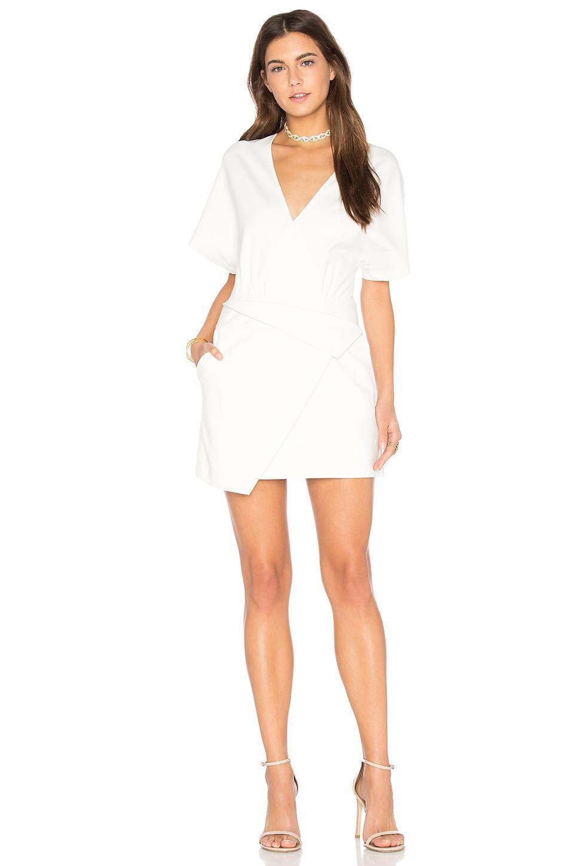 Halston Heritage Wrap Dress In White