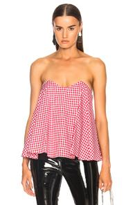 Caroline Constas For Fwrd Coco Bustier Top In Checkered & Plaid,red