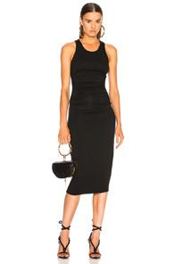 Enza Costa Jersey Side Ruched Midi Dress In Black