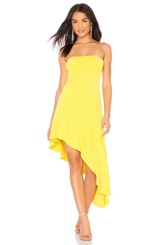 Susana Monaco Slit Hem Strapless Dress In Yellow. In Limonata
