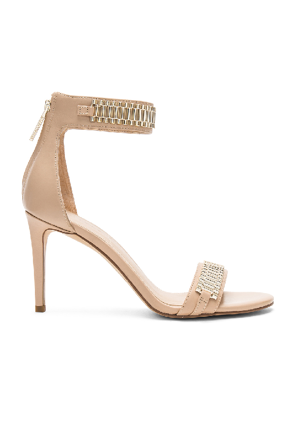 Kendall + Kylie Kendall+kylie Miaa Nude Patent Leather And Metal Heeled Sandal In Beige