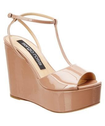 Sergio Rossi Sr1 Patent Platform Sandal In Beige