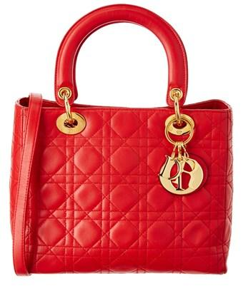 Dior Red Lambskin Medium Lady  In Nocolor