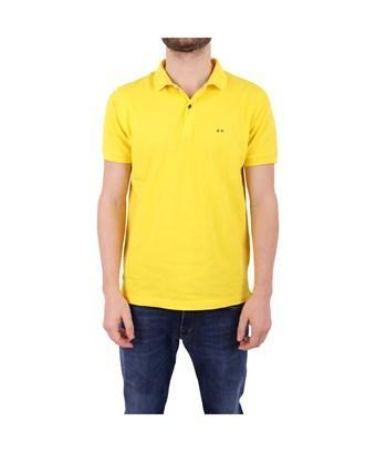 Sun 68 Men's  Yellow Cotton Polo Shirt