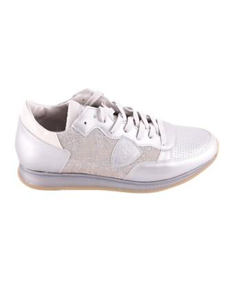 Philippe Model Women's  Silver Faux Leather Sneakers