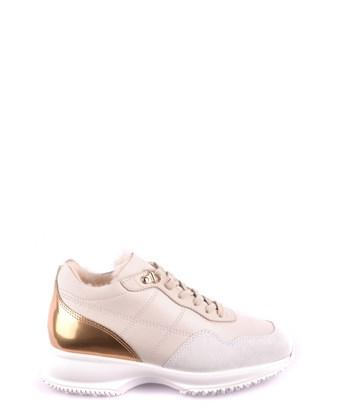 Hogan Women's  Beige Leather Sneakers In Brown