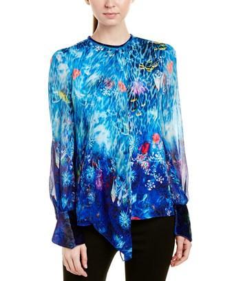 Elie Tahari Woman Jovianna Draped Printed Silk-georgette Blouse Blue