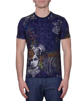 Etro Men's  Blue Cotton T-Shirt
