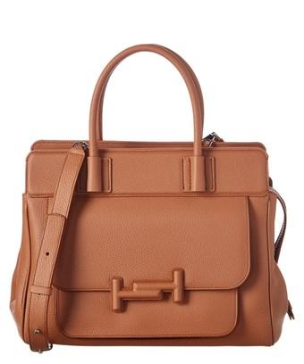 Tod's Double T Leather Tote In Brown