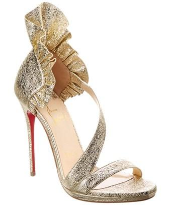 Christian Louboutin Colankle Leather Sandal In Metallic