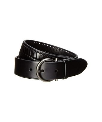 Salvatore Ferragamo Woven Leather Gancio Buckle Belt In Black