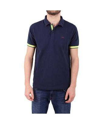 Sun 68 Men's  Blue Cotton Polo Shirt