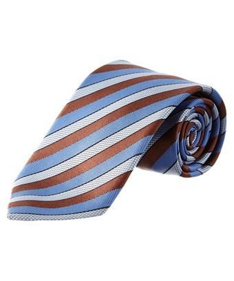 Ermenegildo Zegna Brown & Blue Stripe Silk Tie In Nocolor