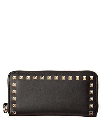 Valentino Garavani Valentino Rockstud Leather Zip Around Wallet In Black