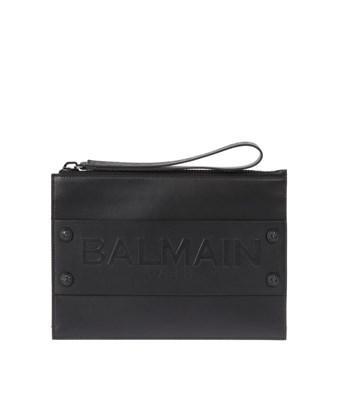 Balmain Men's  Black Leather Clutch