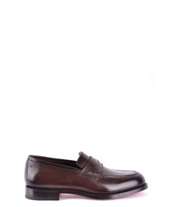 Santoni Men's  Brown Leather Loafers