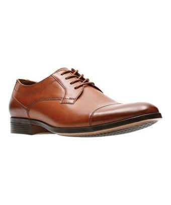 Clarks Men's   Conwell Cap Toe Shoe In Tan Full Grain Leather