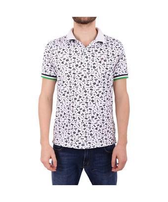 Sun 68 Men's  White Cotton Polo Shirt