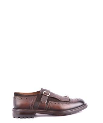 Doucal's Men's  Brown Leather Monk Strap Shoes