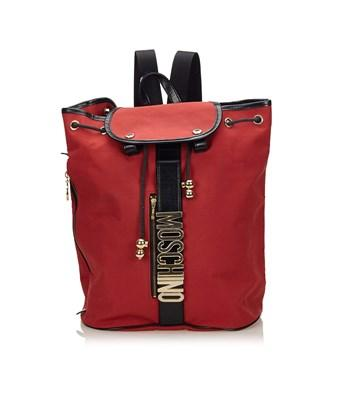 Moschino Pre-owned: Polyester Backpack In Red X Black