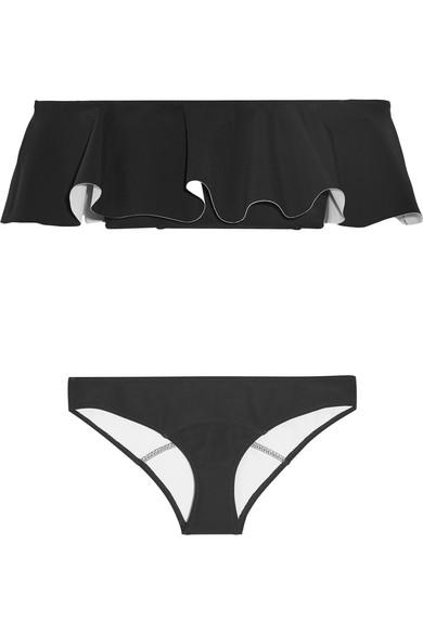 b088e4fc5453a Lisa Marie Fernandez Mira Flounce Off-The-Shoulder Bonded Bikini In Black