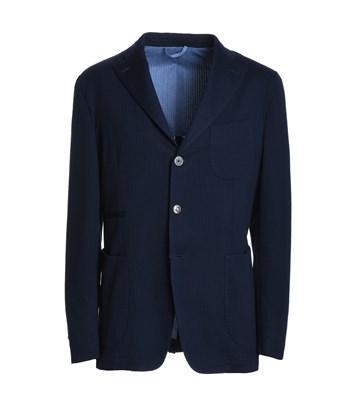John Sheep Men's  Blue Polyester Blazer